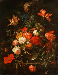 blumenstrauss in kugeliger glasvase mit einer orange by abraham mignon
