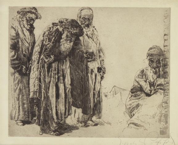 orientalische szene mit vier figuren by erich wolsfeld