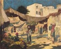 north african market scene by frederick-davenport bates