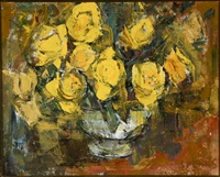 still life with yellow roses by frank sydney spears