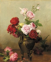 a still life of roses in a vase by gustave bienvetu