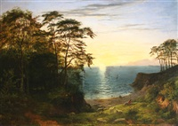coastal landscape with sheep and shepherd by philip hutchins rogers