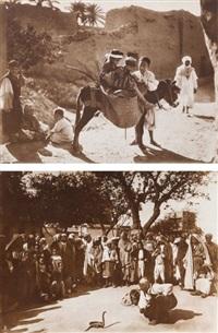 afrique du nord. charmeur de serpents et jeunes garçons. deux by lehnert & landrock