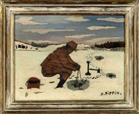fishing through ice by horace pippin