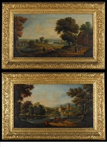 a river landscape with figures on a path with cottages beyond a river landscape with figures on a path a castle beyond pair by anglo flemish school 18