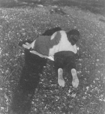 couple on grass by leon levinstein