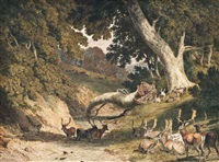 stags and hinds in a park by a river by robert hills