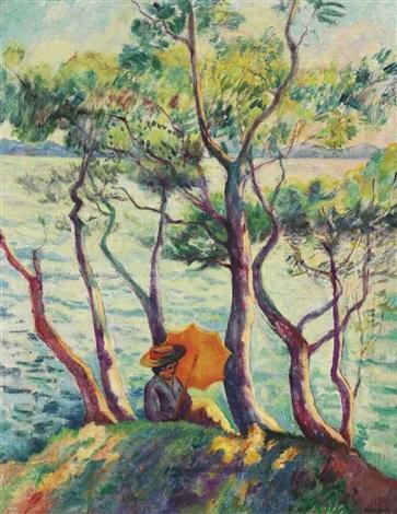 jeanne à lombrelle cavalière by henri charles manguin