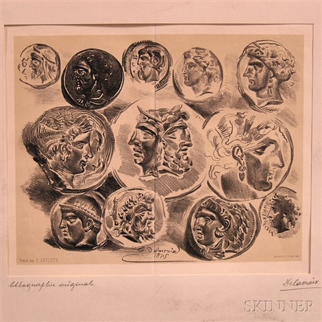 sheet of twelve antique medals by eugène delacroix