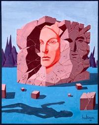 visage de femme dans une pierre sculptée face à une ombre by victor hubinon