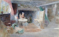 cottage interior with mother and child by thomas mackay