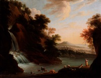 an italianate landscape with drovers beside a waterfall by m.l. court