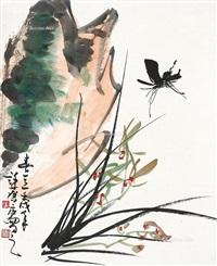 花鸟 立轴 纸本 by xu linlu