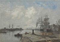 boulogne-sur-mer, le port, quai d'accostage by eugène boudin