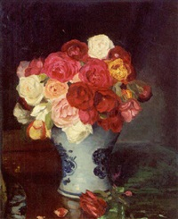 roses in a delft vase by edward drummond young