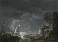 view of a moonlit mediterranean harbor by carlo bonavia