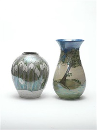 blue dawn landscape vase by lise b moorcroft