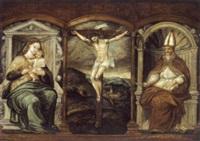 der gekreuzigte christus zwischen maria mit dem kind und einem heiligen bischof by pedro campana