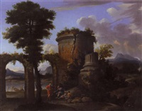 classical landscape with a biblical scene (the calling of the disciples?), before the tomb of cecilia metella by thomas blanchet