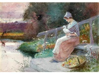 the forest stream; the flower picker with duck; by the river at dusk by thomas mackay