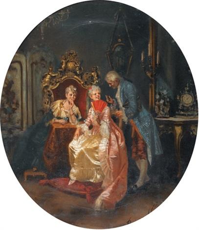interieur mit damen beim kartenspiel by benferini vaccari