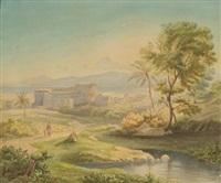 ansicht auf ein am meer gelegenes städtchen mit amphitheater by adolf friedrich vollmer