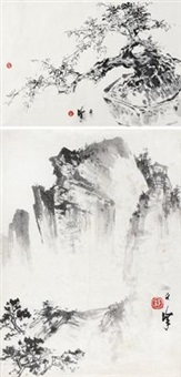 山水 盘景 (2 works, various sizes) by liang zhanfeng