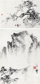 山水 盘景 (2 works, various sizes) by liang zhanfeng