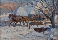 winterliche schlittenfahrt by julius stabiak