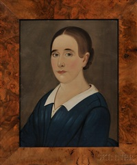 portraits of a young lady and gentleman of the cyrus young family of provincetown (2 works) by american school-prior-hamblen (19)
