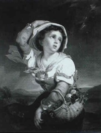 a peasant girl returning from market in a storm by giuseppe mazzola