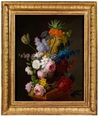 stilleben mit rosen, flieder, tulpen, königskerze und anderen sommerblumen by pieter faes