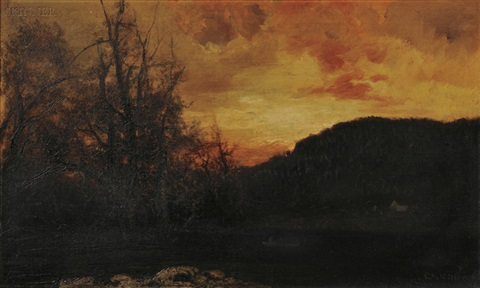 evening glow on the lake by charles henry miller