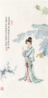 芭蕉少女 镜框 设色纸本 by ren zhong