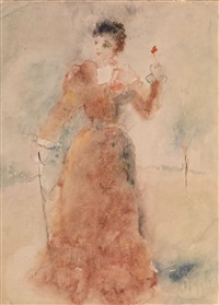 lady with a red flower by artur v. fonvisin