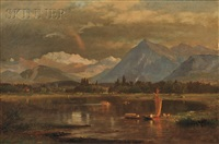 lake view with snow-capped mountains by samuel lancaster gerry