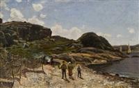 children on a shore by berndt adolf lindholm