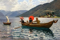 artist with his family boating in balestrand by hans dahl