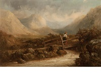girl crossing a bridge in a highland landscape by thomas smythe