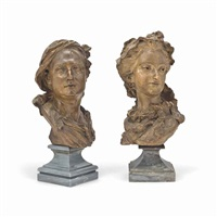 busts of a man and a woman (pair) by jean baptiste lemoyne