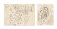 une scène près du port (+ femme au chien; 2 works) by pierre bonnard