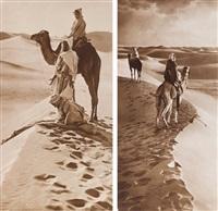 afrique du nord. the prayor in the desert. deux by lehnert & landrock