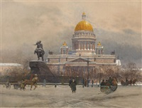 in front of the isaaks cathedral, st. petersburg by franz kopallik