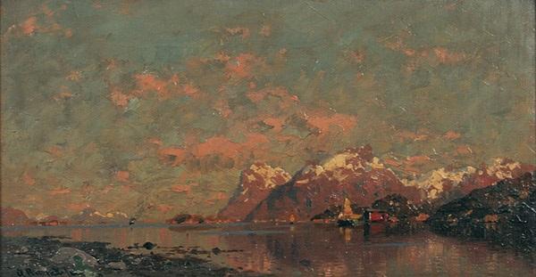 norwegische fjordlandschaft im abendrot by georg anton rasmussen