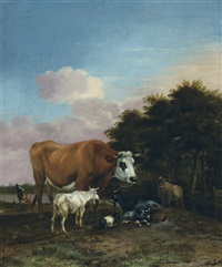 paysage avec taureau et chèvres by albert jansz klomp
