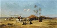 beduinen bei einer oase by etienne billet