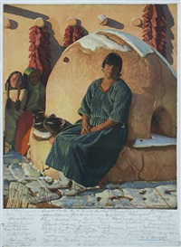 indian girl seated by oven by ernest leonard blumenschein