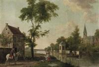 a teahouse, probably along the river vecht by paulus constantijn la (la fargue) fargue