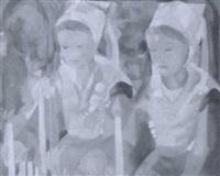 jeunes filles de plougastel en recueuillement by yves mériel-bussy