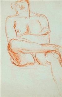 nu féminin assis, la jambe droite posée sur la cuisse gauche, les bras croisés by charles despiau
